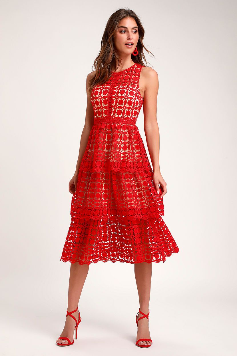 Larissa Red Crochet Lace Sleeveless Midi Dress Yellow Lace Dresses Dark Red Midi Dress Midi Dress Sleeveless