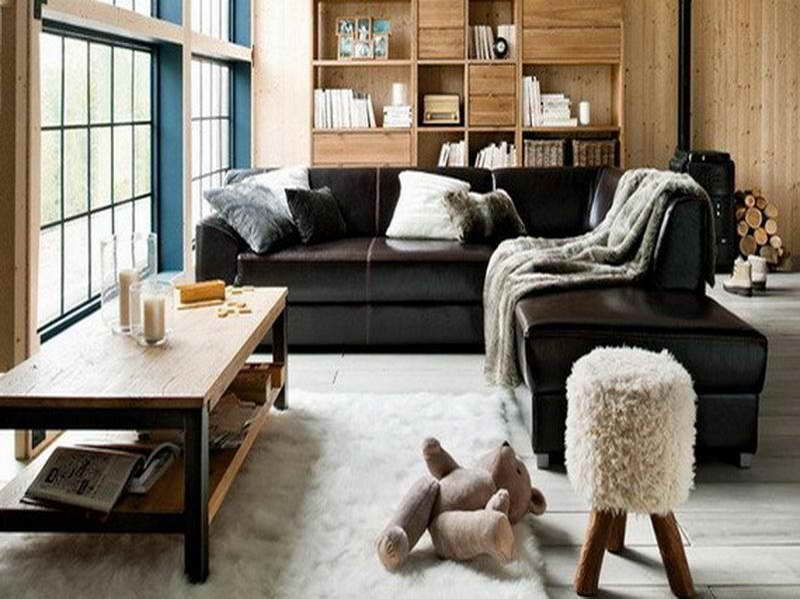 Living Room Design Ideas Black Sofa Leather Furniture Decorating