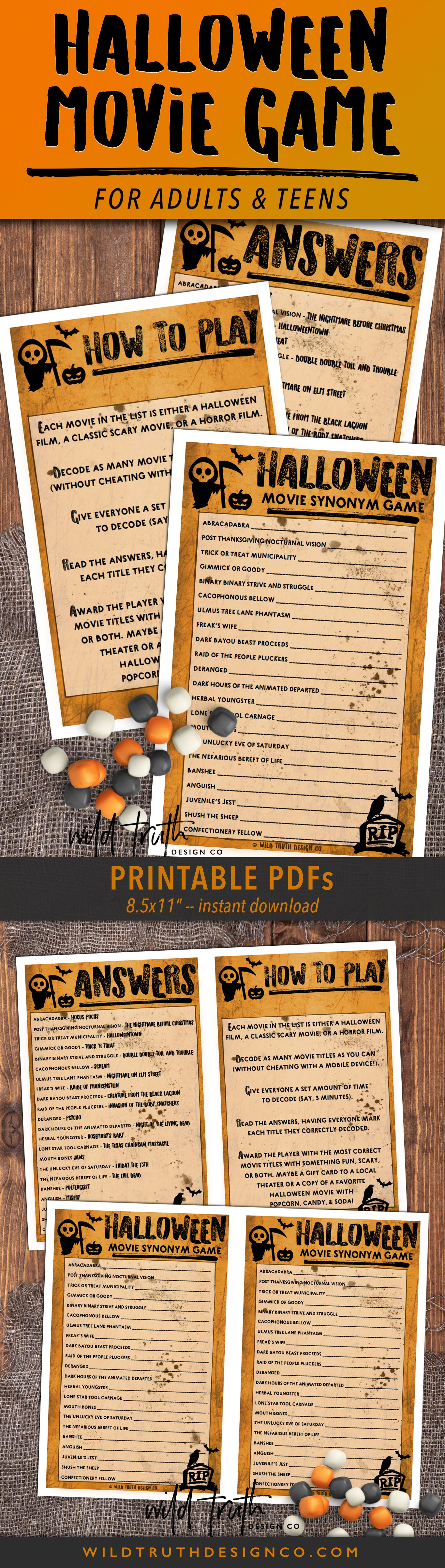 Unique Halloween Games For Adults Mad Libs Scavenger Hunt Movie Challenge Printables H102 Wild Truth Design Co Halloween Games Adults Halloween Games Unique Halloween