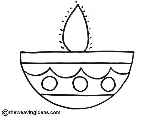 Diya Coloring Page Theweavingideas With Images Diwali For