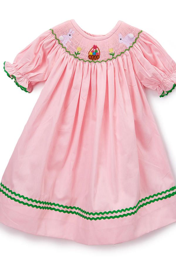 3fd737c8f0da Pink Bunny Smocked Bishop Dress - Smocked Dresses for Easter -  Southernliving. Bunnies, baskets, and blooms—oh my! She'll be the hit of  the Easter egg hunt ...