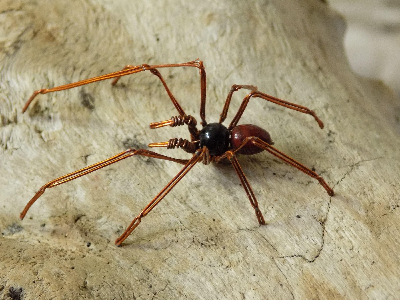 Araña hiperrealista, araña de alambre ,decoración para halloween