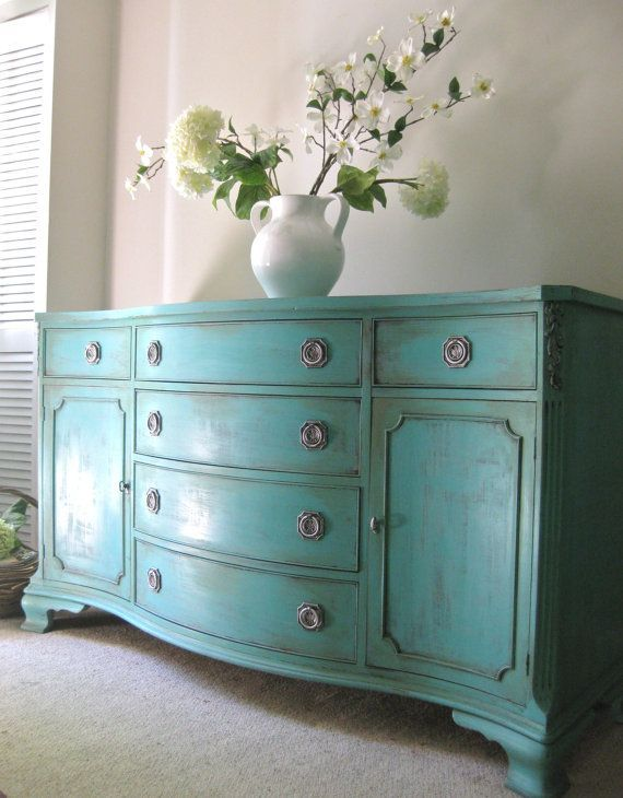 Hand Painted French Country Cottage Chic Shabby Romantic Vintage  Hepplewhite Style Turquoise / Teal Blue Sideboard Cabinet   Love The Blue.
