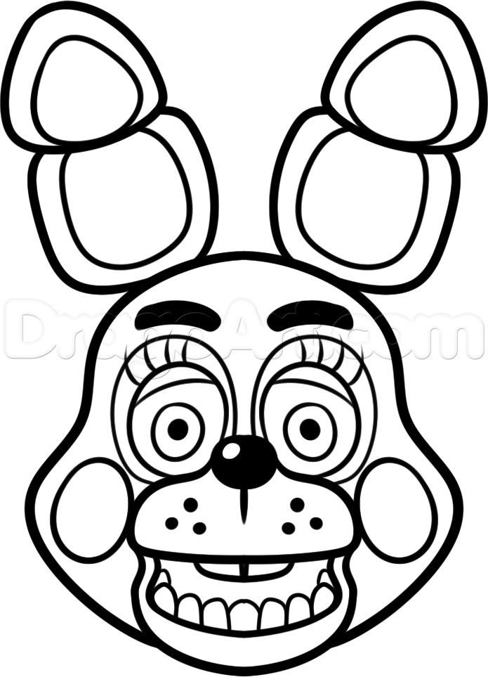 How to Draw Toy Bonnie From Five Nights at Freddys 2, Step