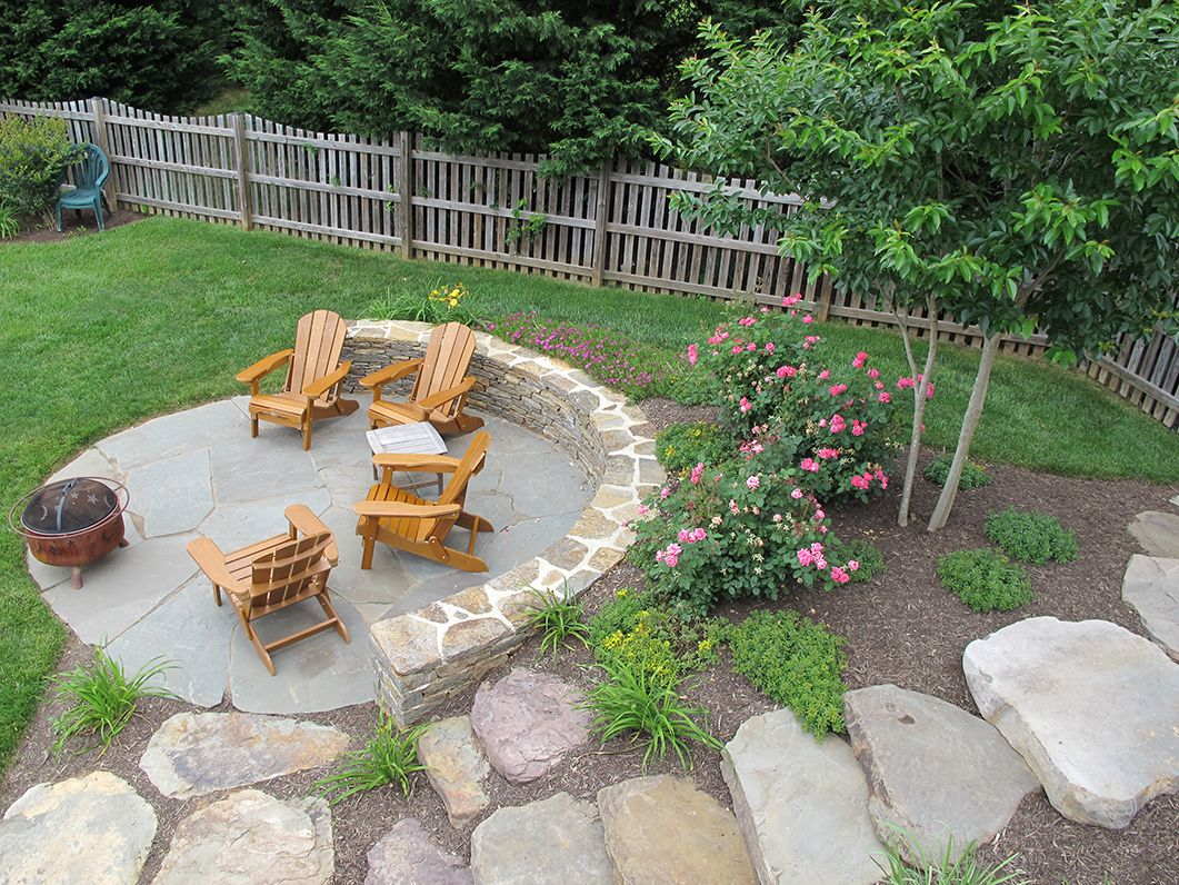 Landscaping Ideas For Uneven Yard : Outdoor firepit area simple clean pretty yard and love the fence backyard ideas