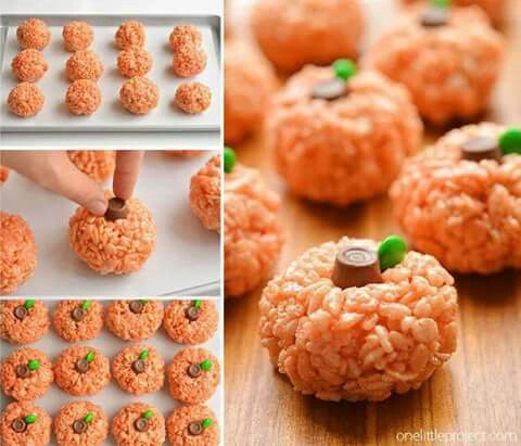 Pumpkin rice crispy balls Recipes Pinterest Rice and Recipes