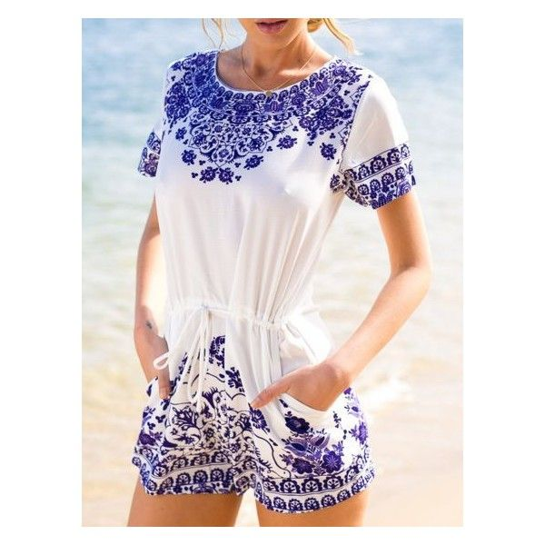 75baf800a2bf White Tile Pattern Short Sleeve Tie Waist Romper Playsuit ( 17) ❤ liked on  Polyvore featuring jumpsuits