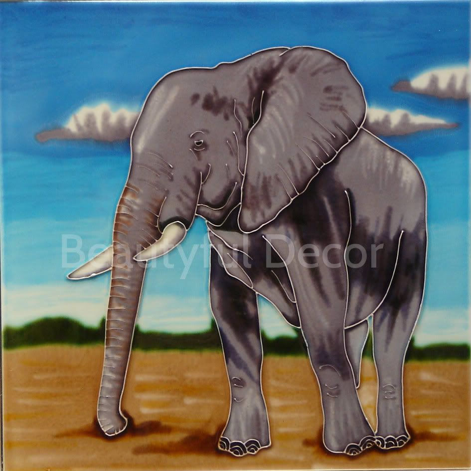 "12X12 Decorative Tiles Gorgeous African Elephant Afet1118 Large 12 X 12"" Decorative Hand Painted Design Decoration"