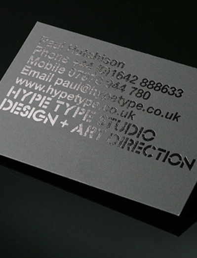 Black on black business cards by Hype Type studio _