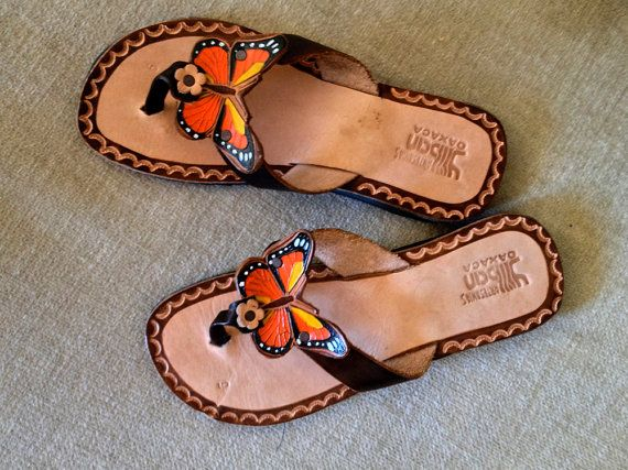 Butterfly Leather Thong Sandals Hippie Shoes by elliemayhems dcfca75744fb4