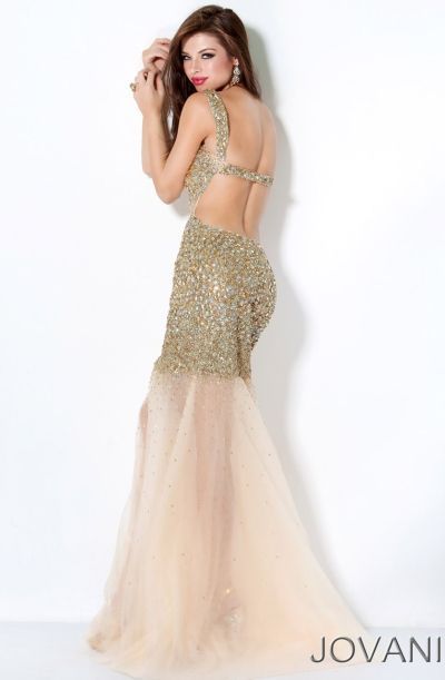 Another image of Jovani Gold Sequin Mermaid Prom Dress with ...