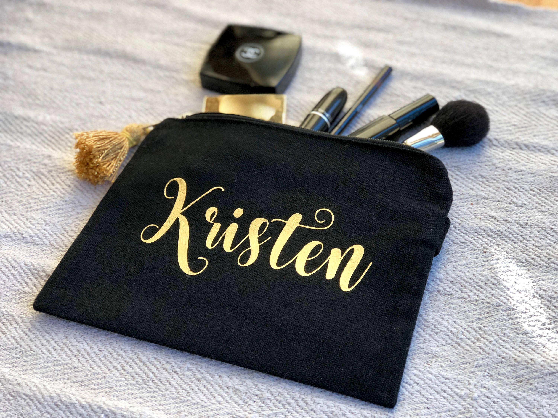 Black cotton custom makeup bag, personalized cosmetic bag ...