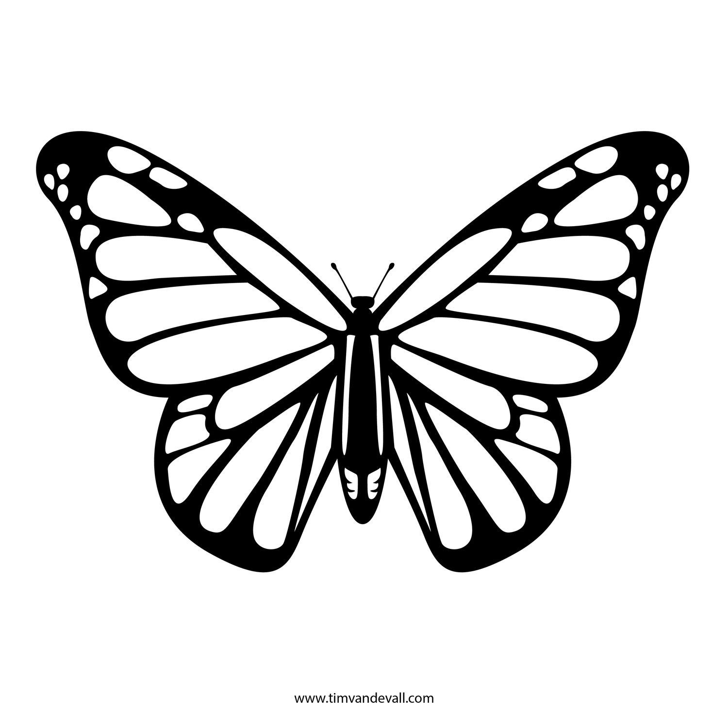 free butterfly stencil monarch butterfly outline and silhouette - Free Kids Stencils