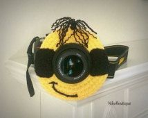 Crochet Minion lens critter, camera buddies, camera lens buddy, photographer helper.