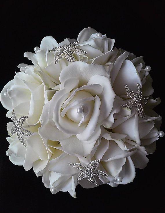 White Starfish Wedding Bouquet-Beach Bouquet-Beach Wedding Flowers ...