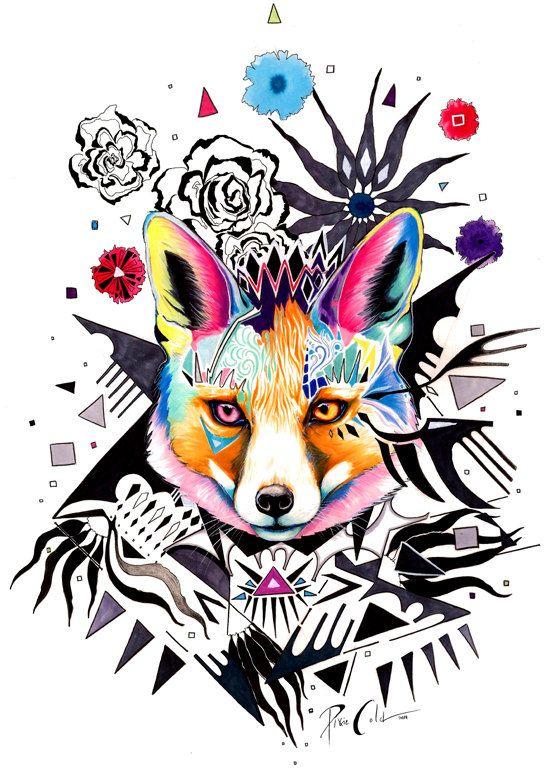 Peinture De Fox Original Mad Peinture Renard Dessin Indien