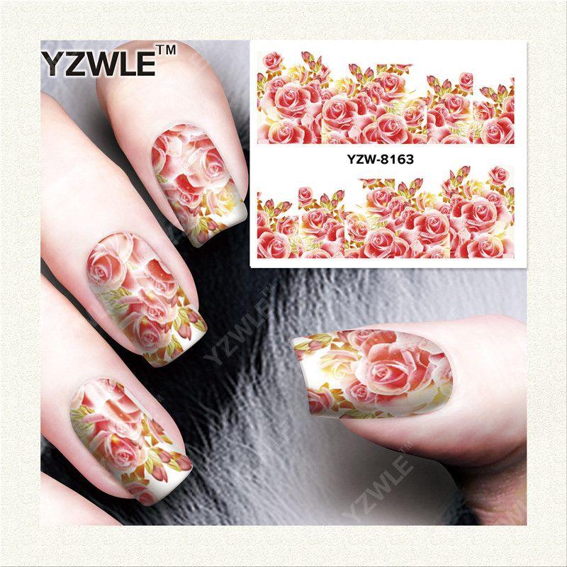 YZWLE 1 Feuille DIY Stickers Ongles Art Impression de Transfert de L'eau Autocollants Accessoires Pour Manucure Salon YZW-8163