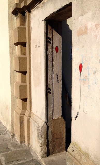 Whimsical Red balloons doorway