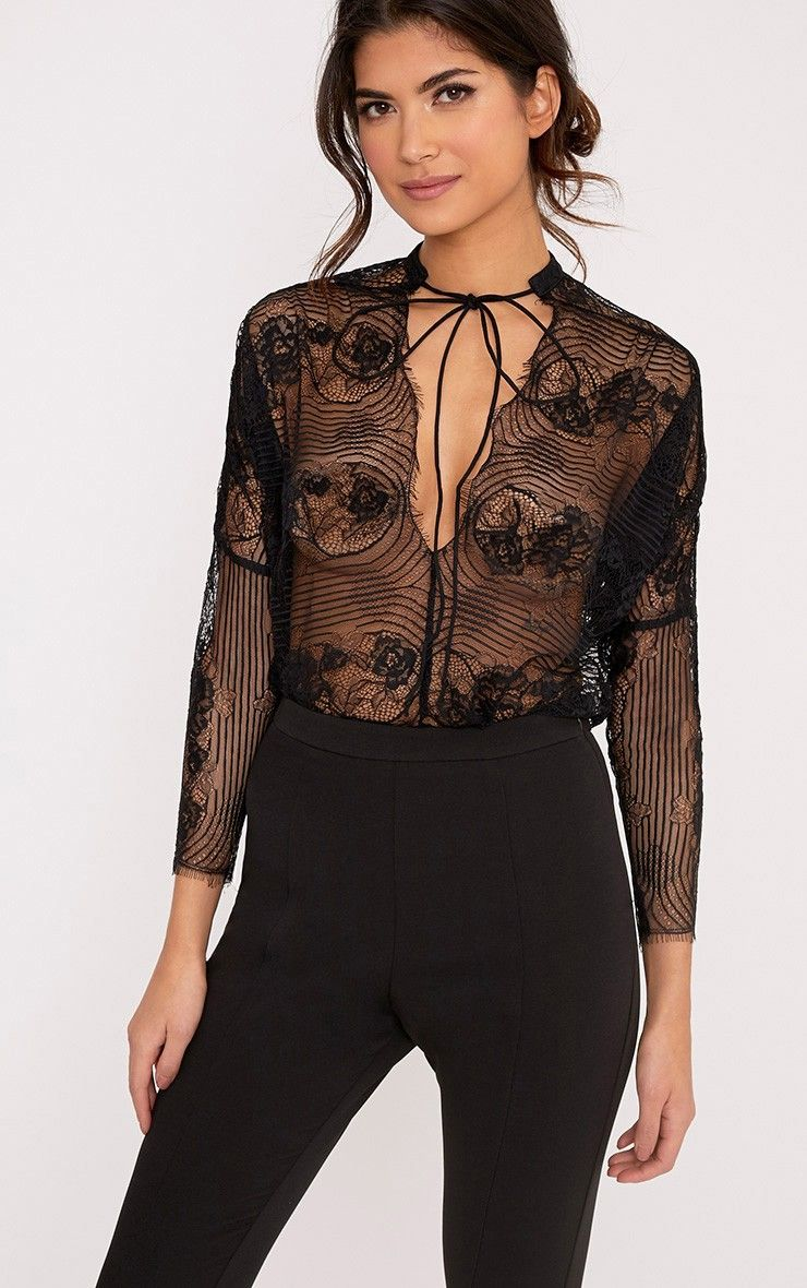 7fcd84314d1 Aiden Black Lace Drawstring Longsleeve Thong Bodysuit