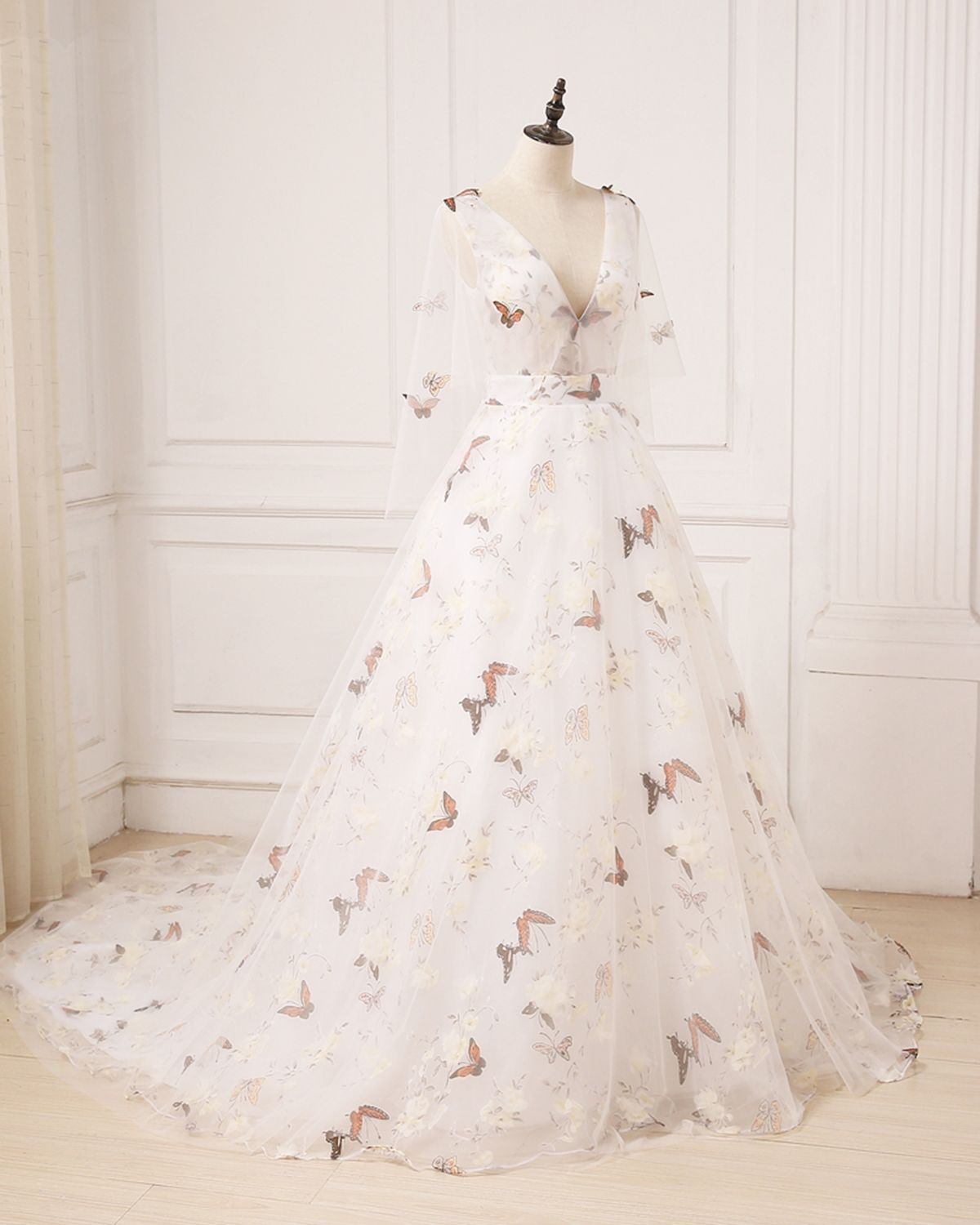 Unique ivory floral print tulle long v neck sweet prom dress with