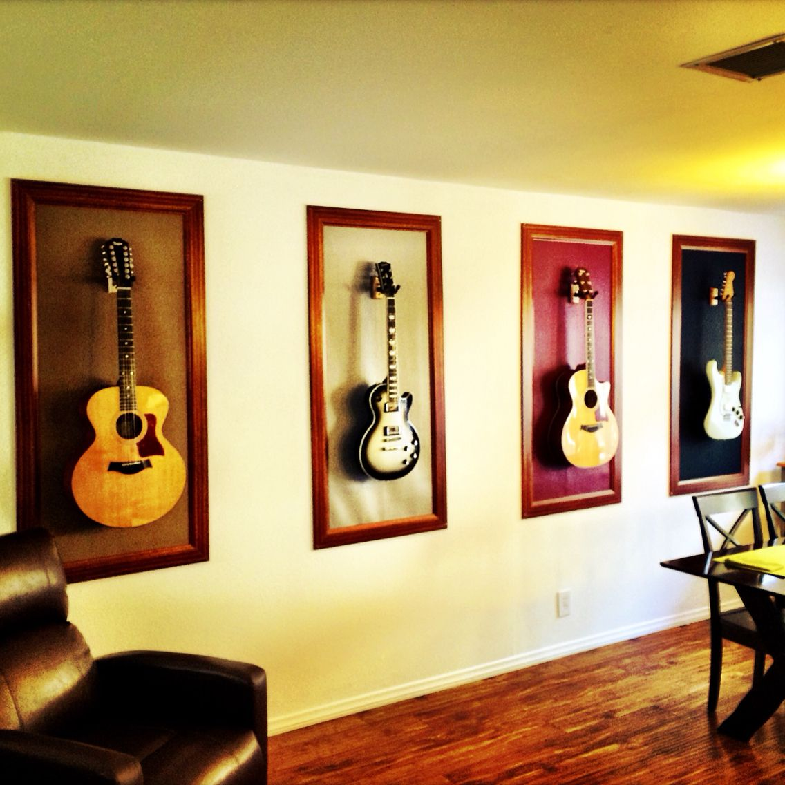 Framed guitars = Long wall decorative solution. | Family Room and/or ...