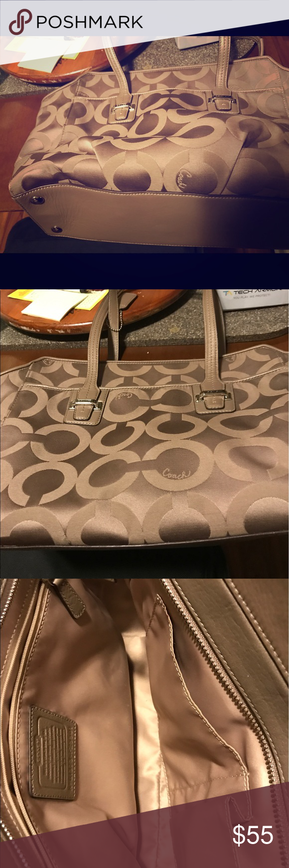 Coach purse This purse is tan with coach on outside and it has room for cell phone and two more areas on the sides.  The middle has been used but in good condition. Coach Bags Shoulder Bags