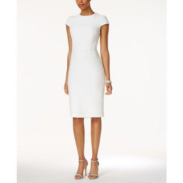 Betsey Johnson Embossed Midi Sheath Dress 118 Liked On Polyvore Featuring Dresses Ivory Sheath Dress White Ivory Midi Sheath Dress Sheath Dress Dresses