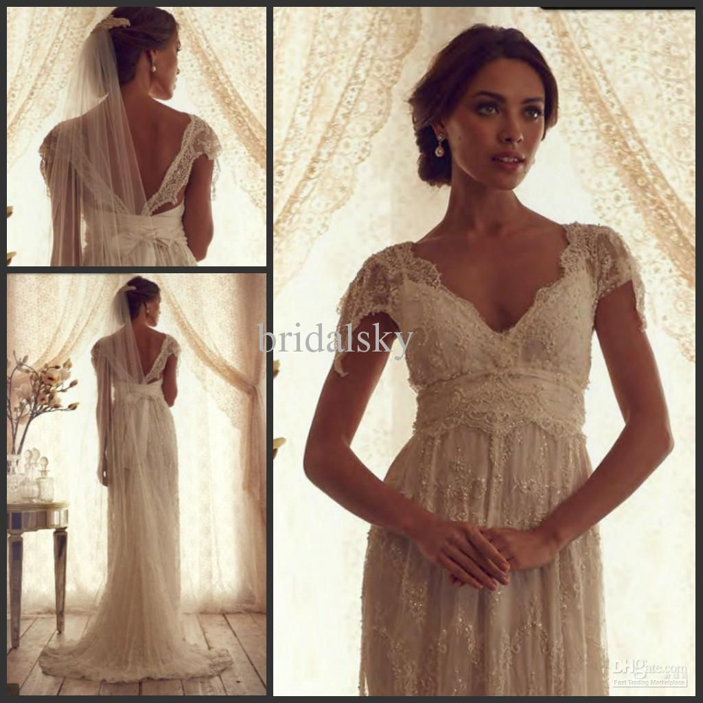 Elegant lace beads sash v neck column cap sleeve sweep train wedding