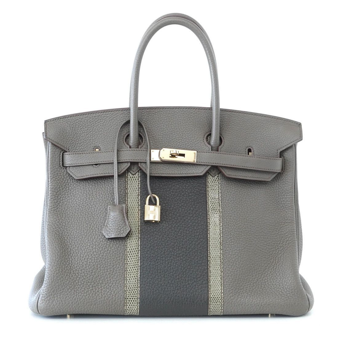 ade488ed31d9 Guaranteed authentic coveted Limited Edition HERMES Club Birkin in Grays… Hermes  Birkin 35 Bag ...