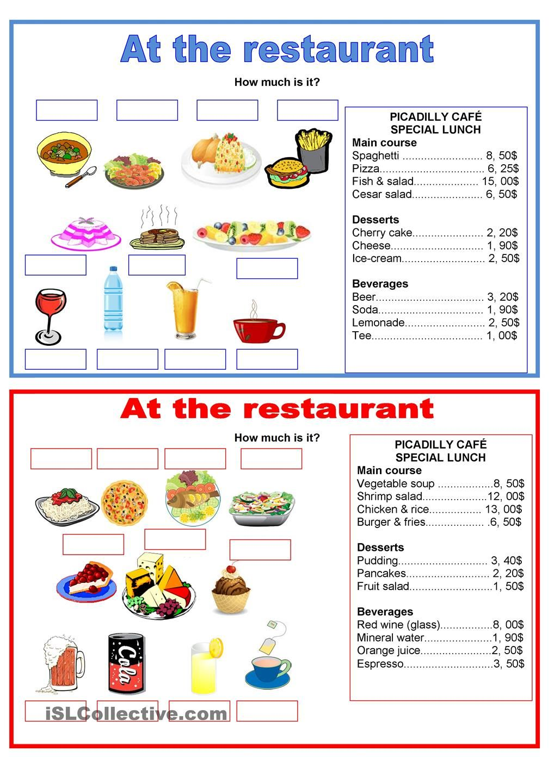 Pairwork food at the restaurant Restaurant, Teaching