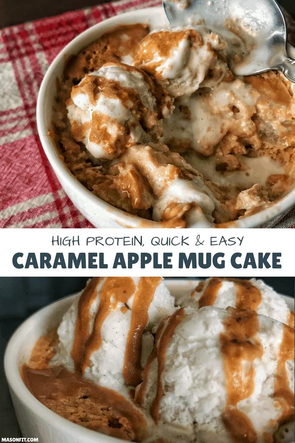 Caramel Apple Protein Mug Cake: A Healthy Mug Cake Recipe #proteinmugcakes Caramel Apple Protein Mug Cake: A Healthy Mug Cake Recipe #proteinmugcakes