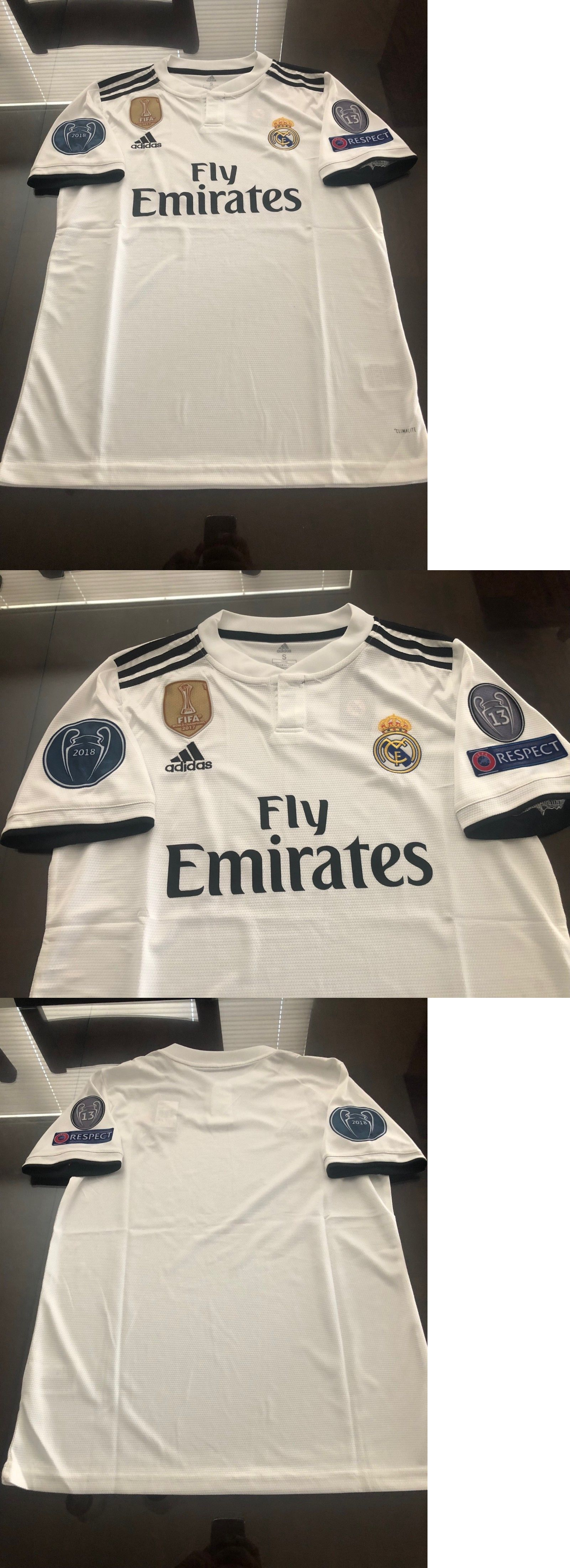 223e4719d Clothing 33485  Adidas Real Madrid Home Soccer Jersey 2018-2019 Champions  Patches Sizes White -  BUY IT NOW ONLY   34 on  eBay  clothing  adidas   madrid ...