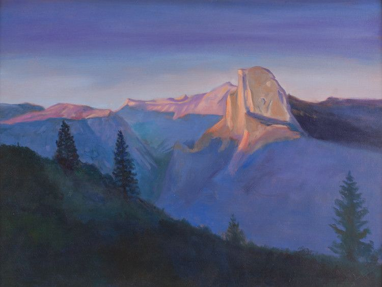 Sunset on Half Dome - Gallery Yosemite is located in Oakhurst and is an gallery that specializes in art as an expression of love for nature, the outdoors, Yosemite and the Sierra Nevada