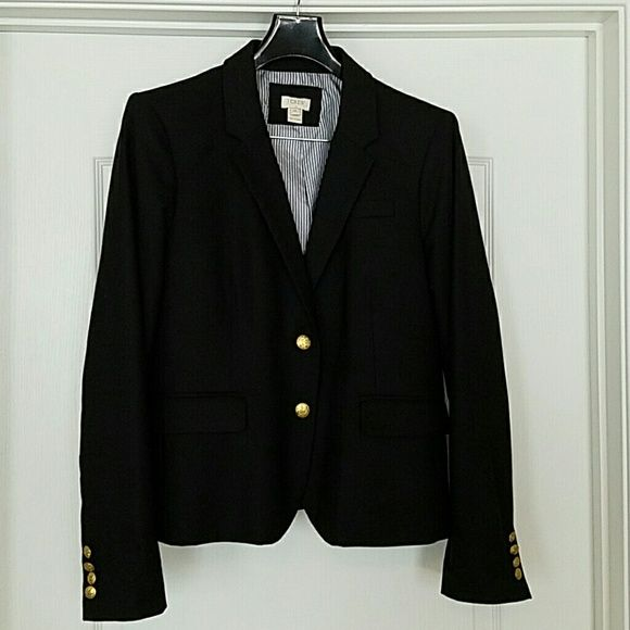 J. Crew Black Blazer J.Crew black blazer , in great condition. No marks, no flaws, no tears. Please see photo for fabric content. Dry cleaned. Purchase at J Crew Outlet. J. Crew Jackets & Coats Blazers
