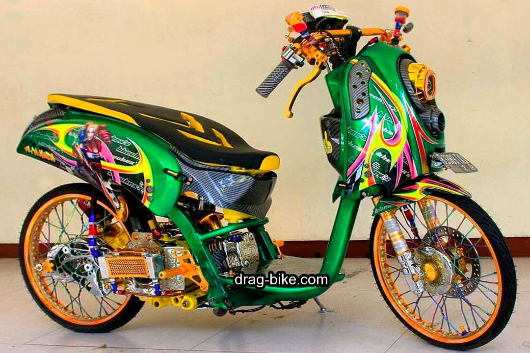 40 Foto Gambar Modifikasi Scoopy Thailook Simple Jari Jari Velg 17 Drag Bike Com Velg Drag Racing Kawasaki Ninja