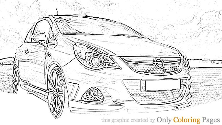 Opel Corsa Opc Coloring Page Opel Corsa Opc Coloring Page