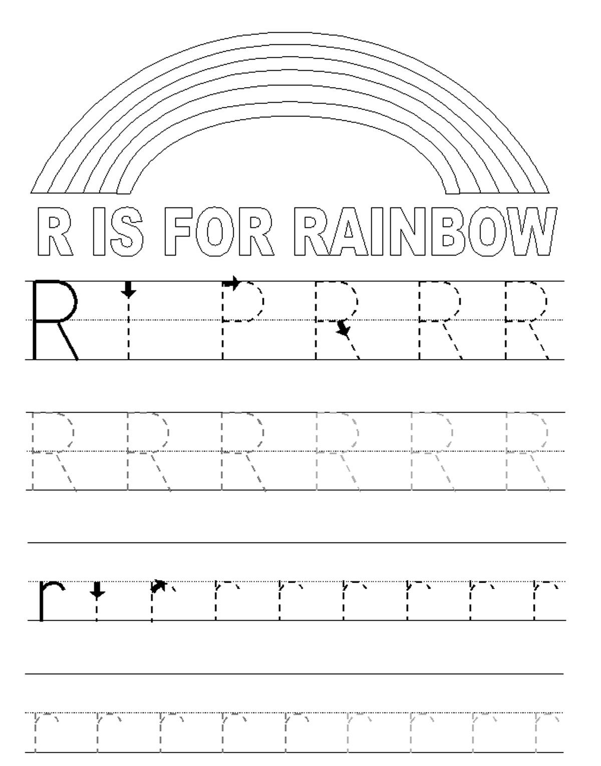 Alphabet Tracer Pages R Rainbow