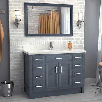 Studio Bathe \u2013 Meuble-lavabo Calais de 48 po gris poivre avec miroir