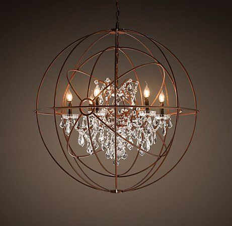 FOUCAULT'S TWIN-ORB CRYSTAL CHANDELIER; crystal drop chandelier inside armillary sphere?