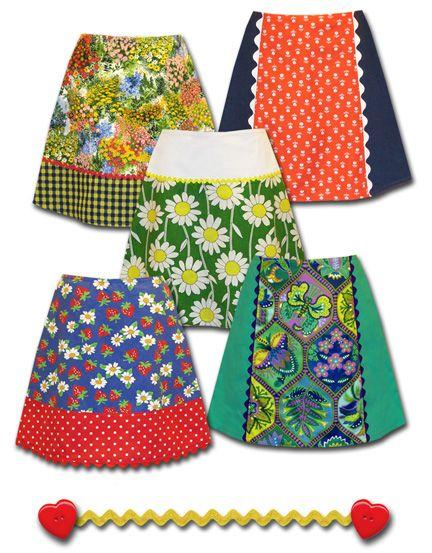 new limited edition skirts - vintage fabrics and ricrac. Cute! http://madewithlovebyhannah.com/WordPress/ http://madewithlovebyhannah.com/limited.html
