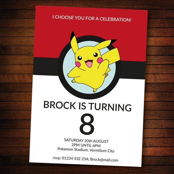 Personalised Pokemon Invite Self Editable Pdf 5 X 7 Inch Etsy Pokemon Invitations Pokemon Birthday Party Pokemon Birthday