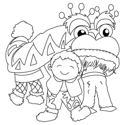 Chinese Lion Dance Coloring Page  Kids fun  Pinterest  Lion