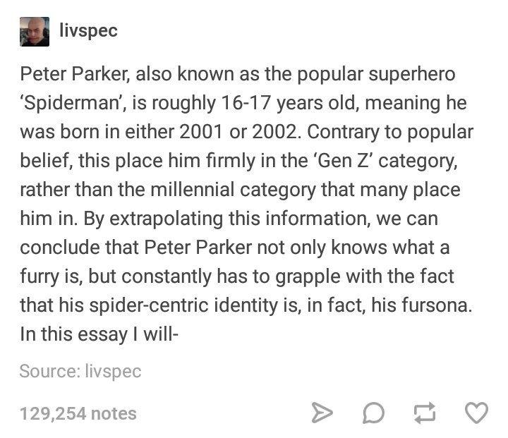 17 Tumblr Posts That Prove Spider-Man Is Definitely A Gen Z Kid #peterparker