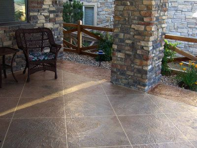 Charmant Stamped Overlay For Covered Patio. Taped Flagstone Pattern And Stain.