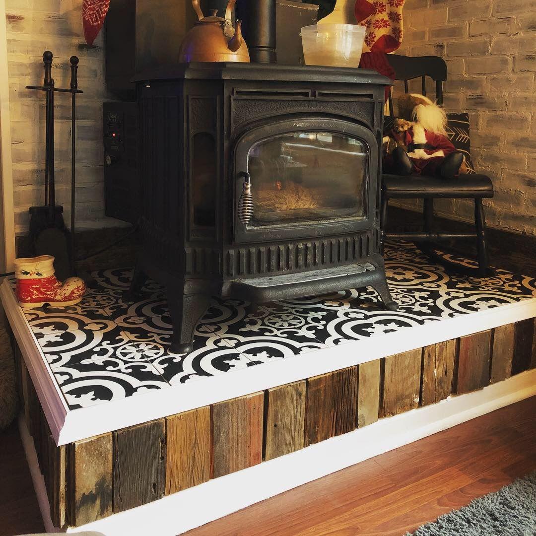 Pellet Stove Hearth Makeover Ceramic Tiles Pellet Stove Hearth Updating House Home Decor