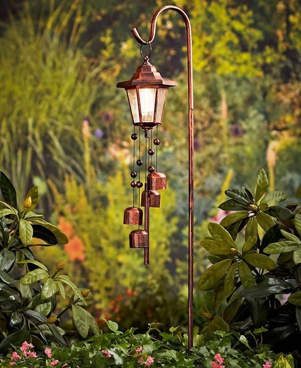 Tall Solar Lamp Post Shepherds Hook Lighted Lantern Wind Chime With Stake  Bronze