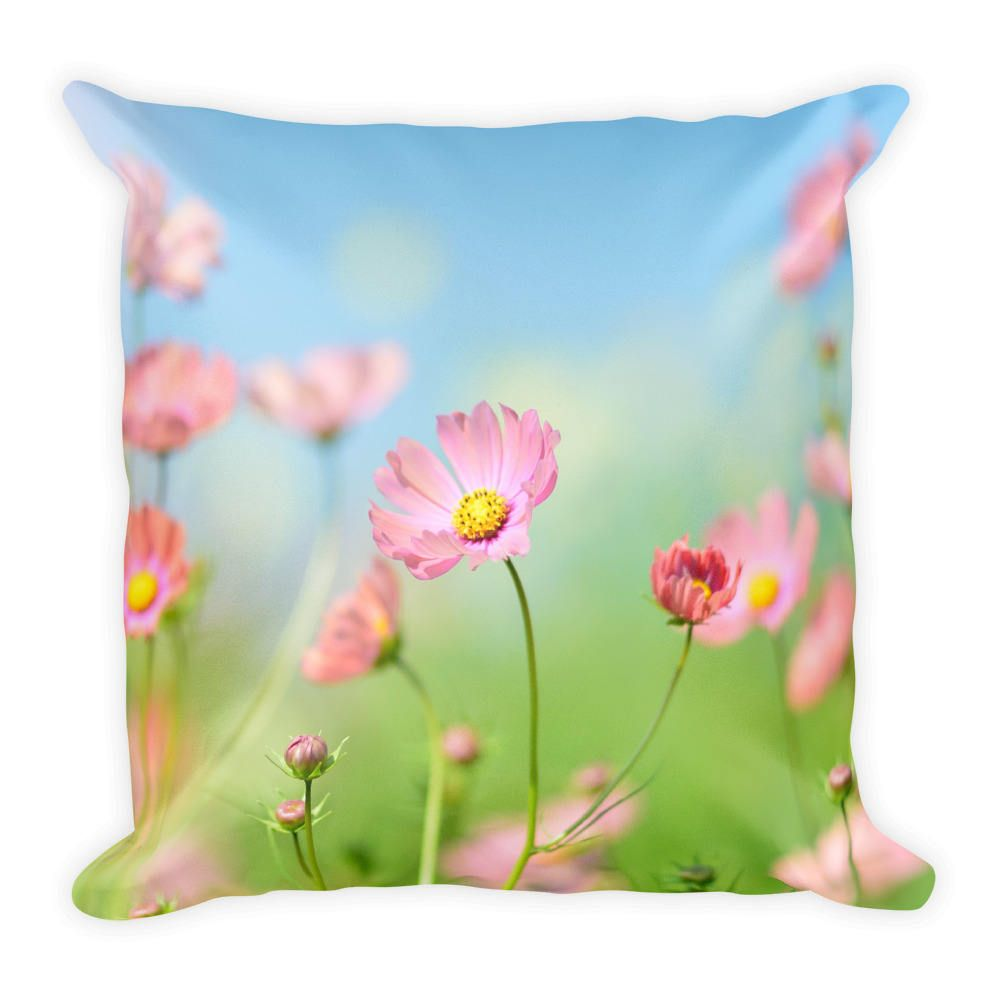 Pink Flowers Blue Sky Best Pillow Gifts 18x18 Throw Pillow With
