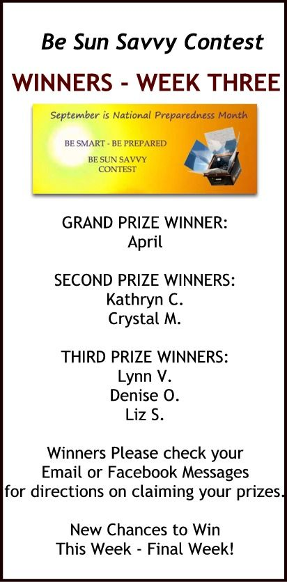 Week Three Winners!! If you think your name is on the list