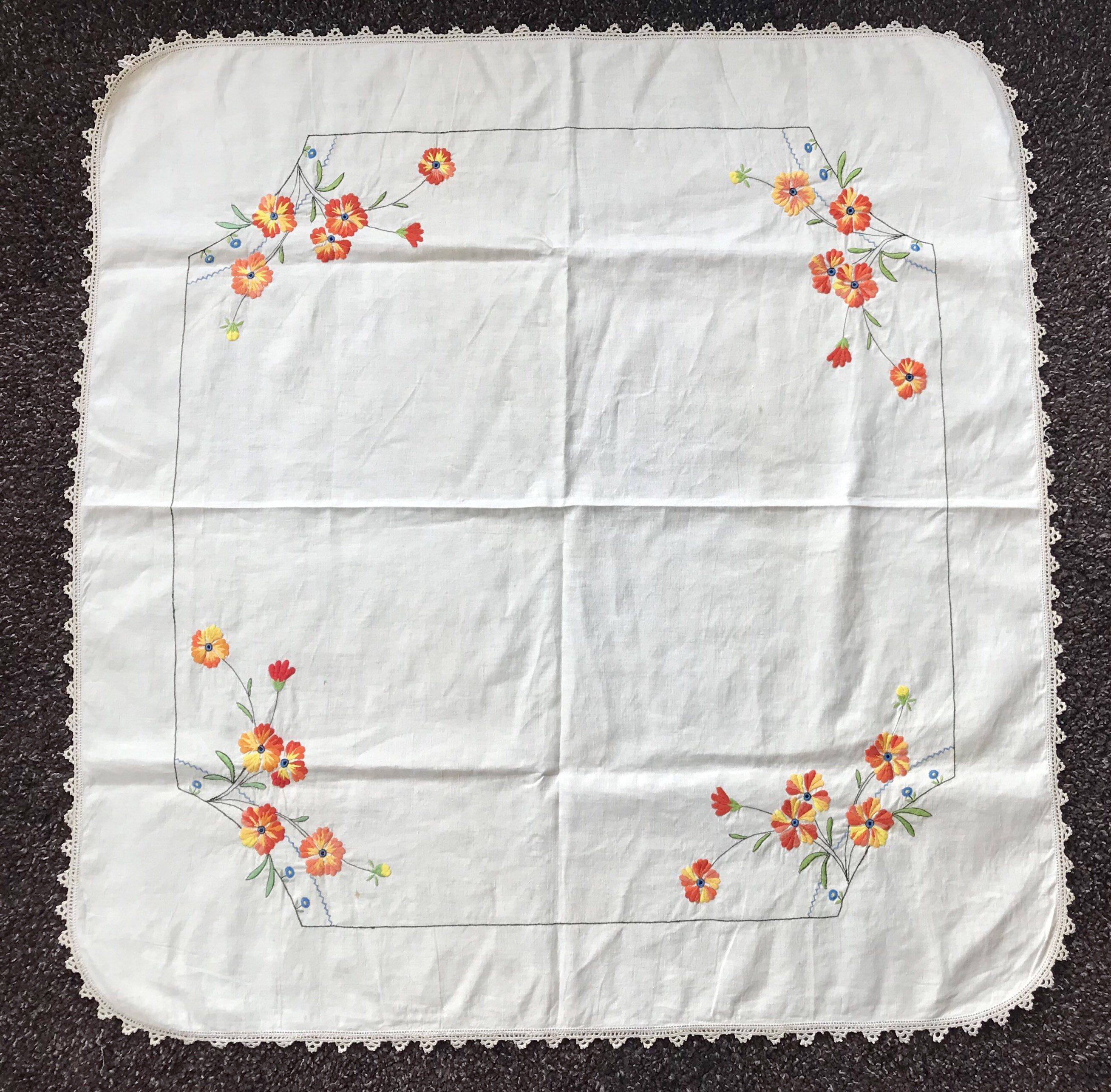 Antique Folk Art Tablecloth Decorated With Embroidered Etsy Vintage Linens Antique Folk Art Antique Linens