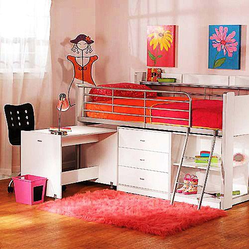 Charleston Storage Loft Bed With Desk White Walmart Com Bed Desk Loft Bed Cool Loft Beds